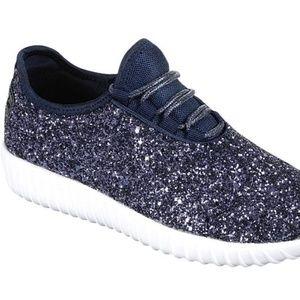 Navy Violet Glitter Sequin Sneakers